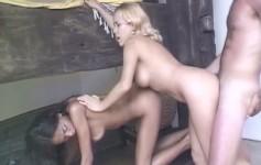 Katiane e sua amiga loira capricharam no ménage com um bem dotado sortudo.