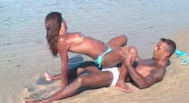 Anal sex in the sand, blowjob and milk in the mouth