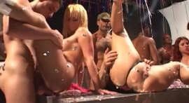 Hot babes take cum bath