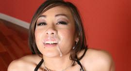 The naughty Asian released the pussy on the stairs and ended up taking cumshot in the face!