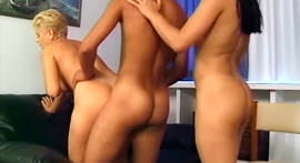 Blonde and sexy brunette do threesome with well endowed.