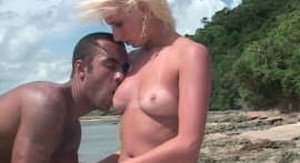 In the middle of the beach blonde gets fucking nigger