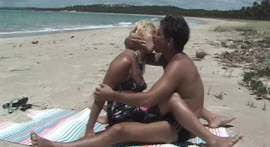 hot blonde is smeared with joy in the little mouth